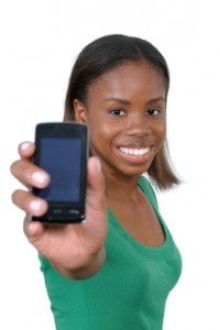 Student with mobile phone